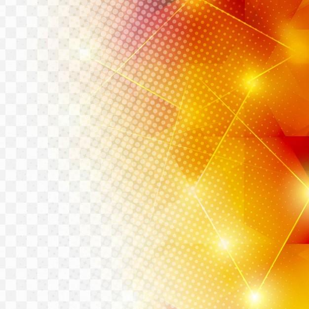 Orange geometric background with halftone dots Free Vector