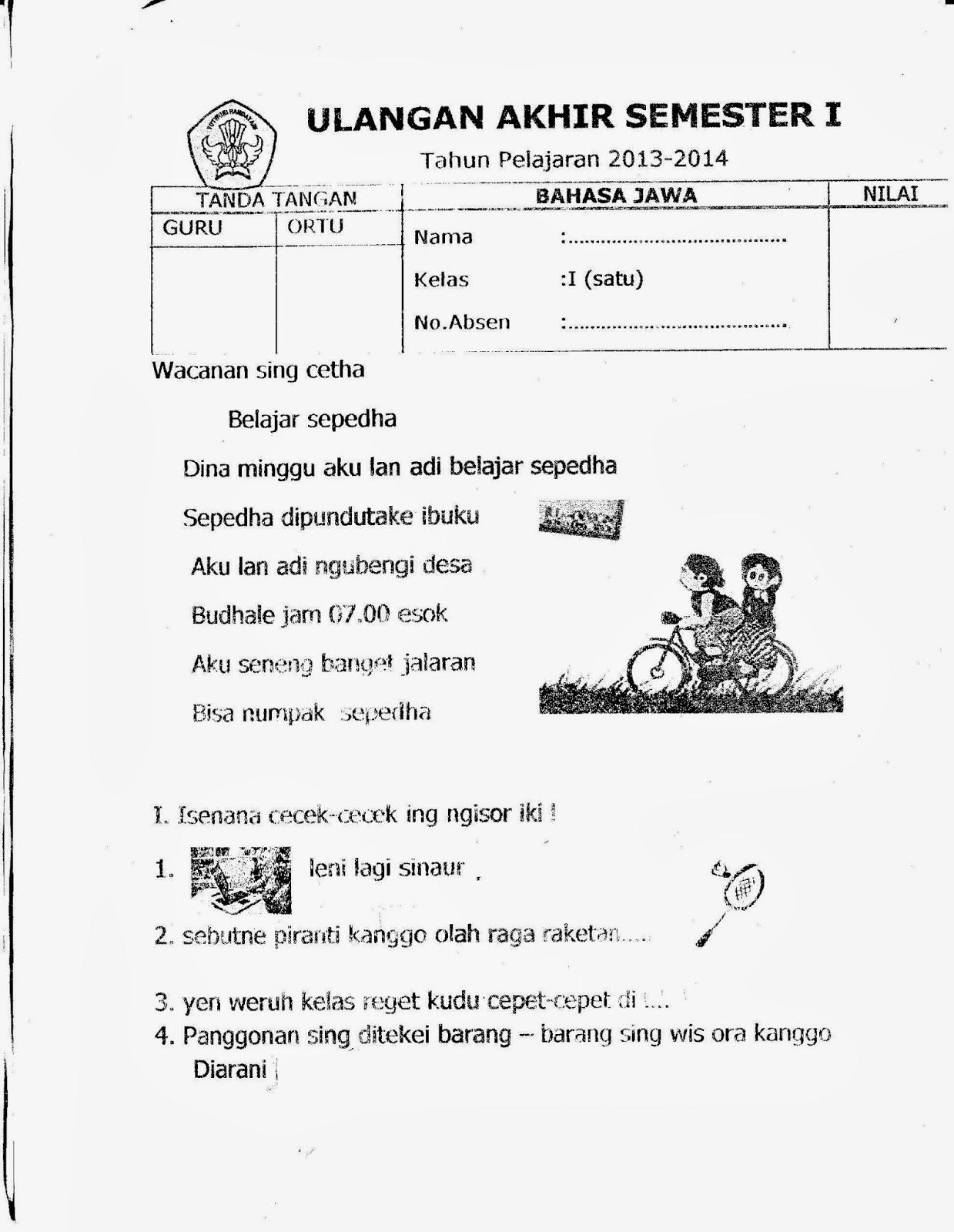 Uas Semester I Kelas 1 Sd Bahasa Jawa
