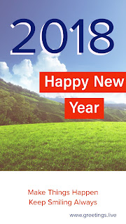 Blue sky green gross Happy new year 2018 Greeting