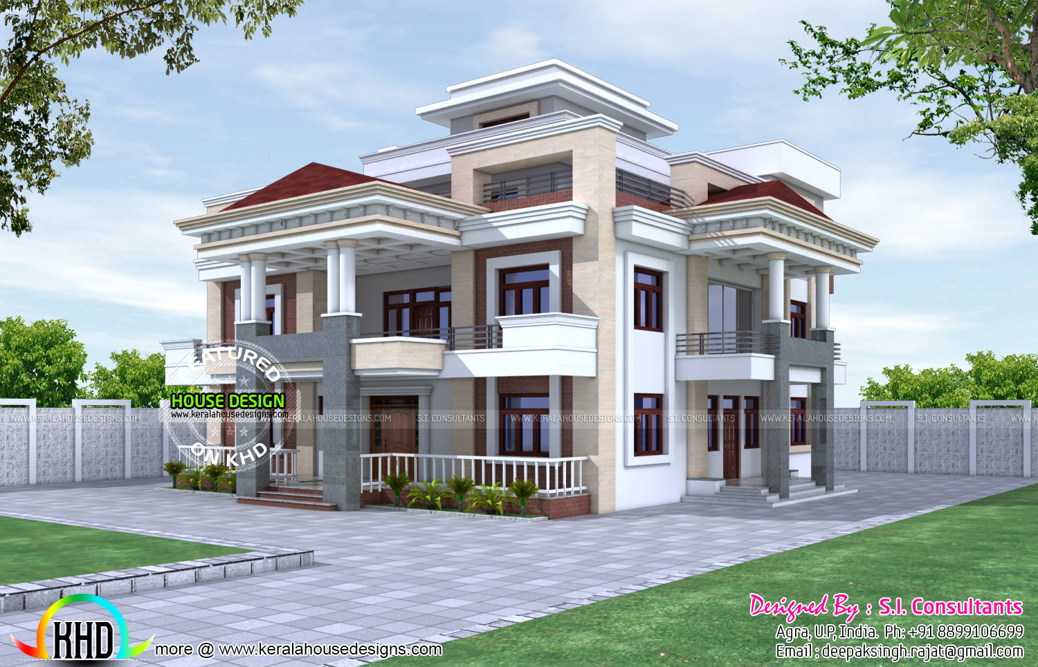 80x90 three storied house plan kerala home design and for Indian house front porch design
