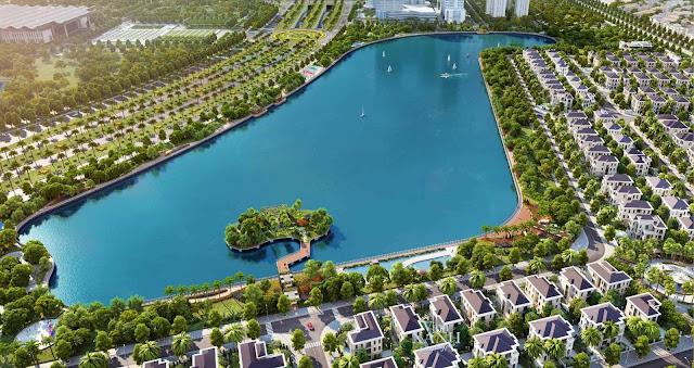 Cây xanh và hồ điều hòa tại dự án Green Park