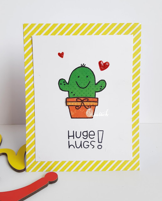 CAS card, Paper piecing, paper smooches, Quillish, Technique card, card by Ishani, Inspired by Loll , Cactus card, cactus stamp, Papersmooches comforting hugs, Comforting hugs stamp card, Huge hugs