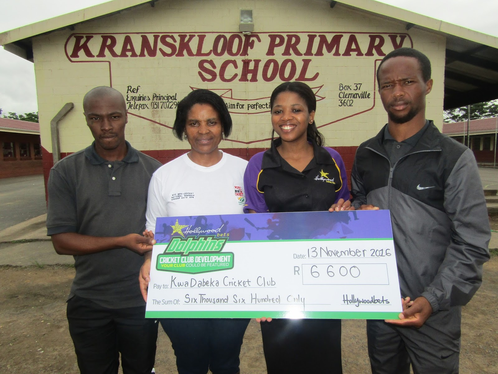 Handover to KwaDabeka Cricket Club - Hollywoodbets Development Programme - Kranskloof Primary School