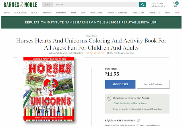 Coloring Book About Horses in Barnes And Noble store