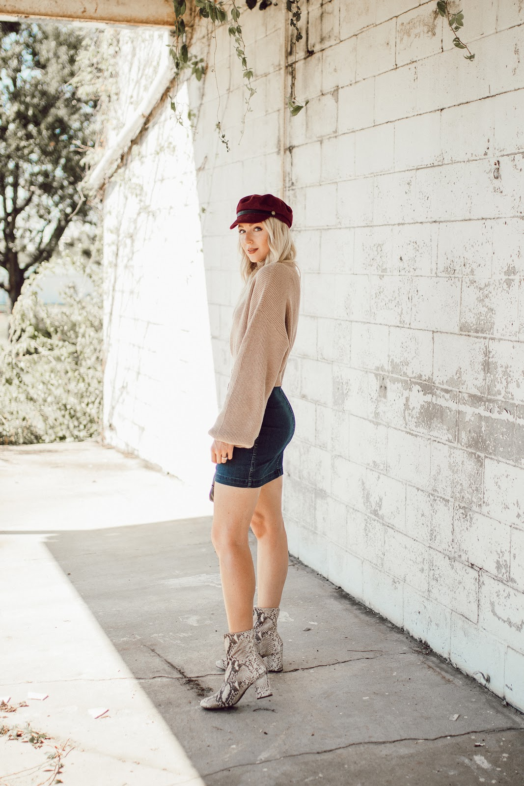how to wear a denim skirt this fall