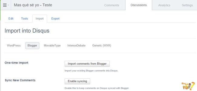 Opções para importação e sincronização de comentários