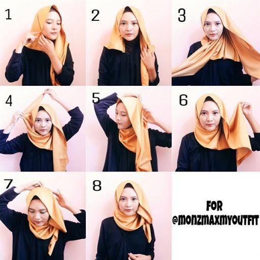 contoh tutorial hijab pashmina satin terbaru 2017/2018