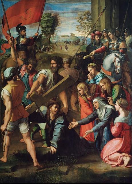 """""""Cristo Caindo no Caminho para o Calvário"""" (1516) - pintura de Rafael (1483-1520) exposta no Museo Del Prado em Madrid, na Espanha."""