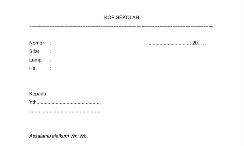 Bentuk Surat Dinas Biasa pada Administrasi TU (Tata Usaha) Sekolah Format Word (doc)