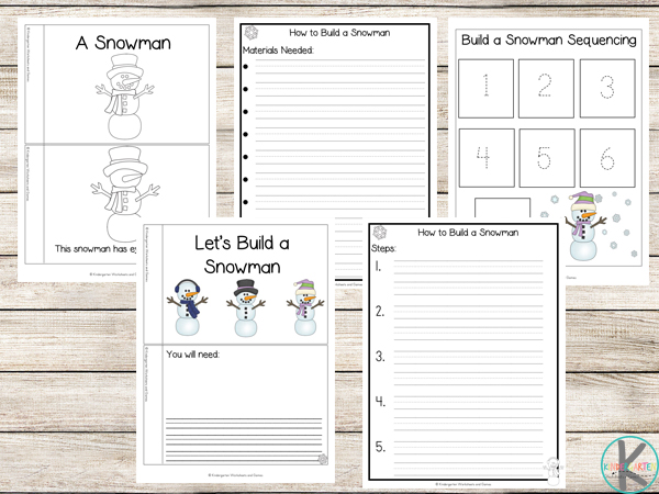 snowman kindergarten worksheets