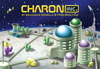 The cover art for Charon Inc. Slightly simplistic crawing of various sci-fi buildings with different coloured domes for roofs, on the moon Charon, with pipes running along the surface subdividing the surface into areas, with flags of different colours at the junctions of these pipes. There are rocks and crystals in yellow, green, and blue lying on the surface. A rocket ship is seen blasting off in the background and an artificial satellite hovers in the distance.