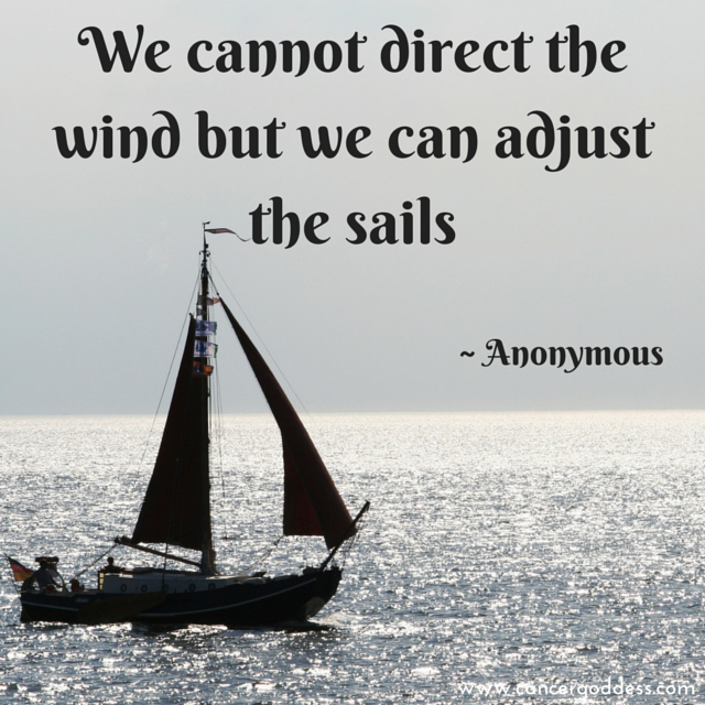 We cannot direct the wind but we can adjust the sails – Anon. (Cancer Goddess quote)