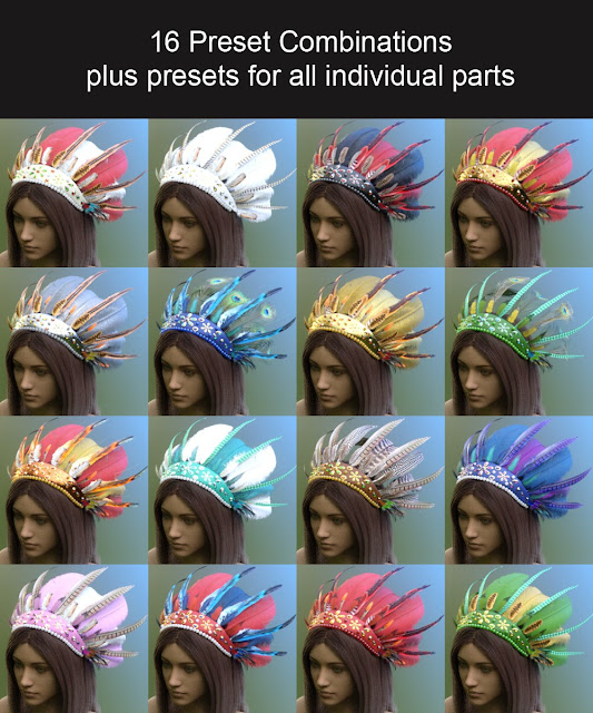 Feathered Fantasy Headdress for Genesis 3 and 8 Female