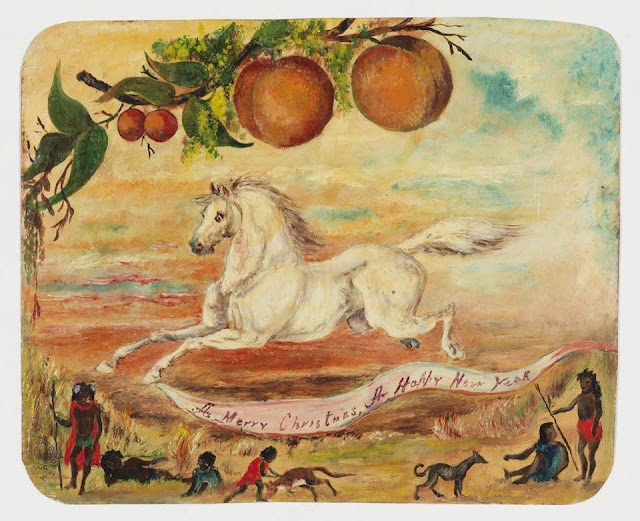 """Christmas Card design depicting a white horse, Australian indigenous natives, and peaches with the words """"A Merry Christmas, A Happy New Year""""."""