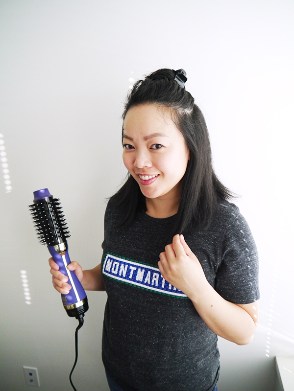 Vancouver beauty, life and style blogger Solo Lisa demonstrates the results from the Hot Tools Signature Series Hair Styler on one section of her partially dried hair