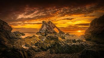 Horizon, Sunrise, Rock, Nature, Scenery, 4K, #156