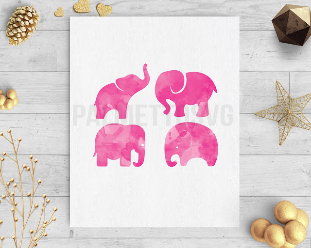 baby elephant pink watercolor clip art svg dxf cut file silhouette cameo cricut download