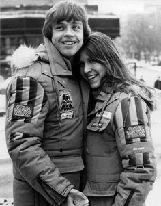Mark Hamill and Carrie Fisher on Set of EMPIRE STRIKES BACK