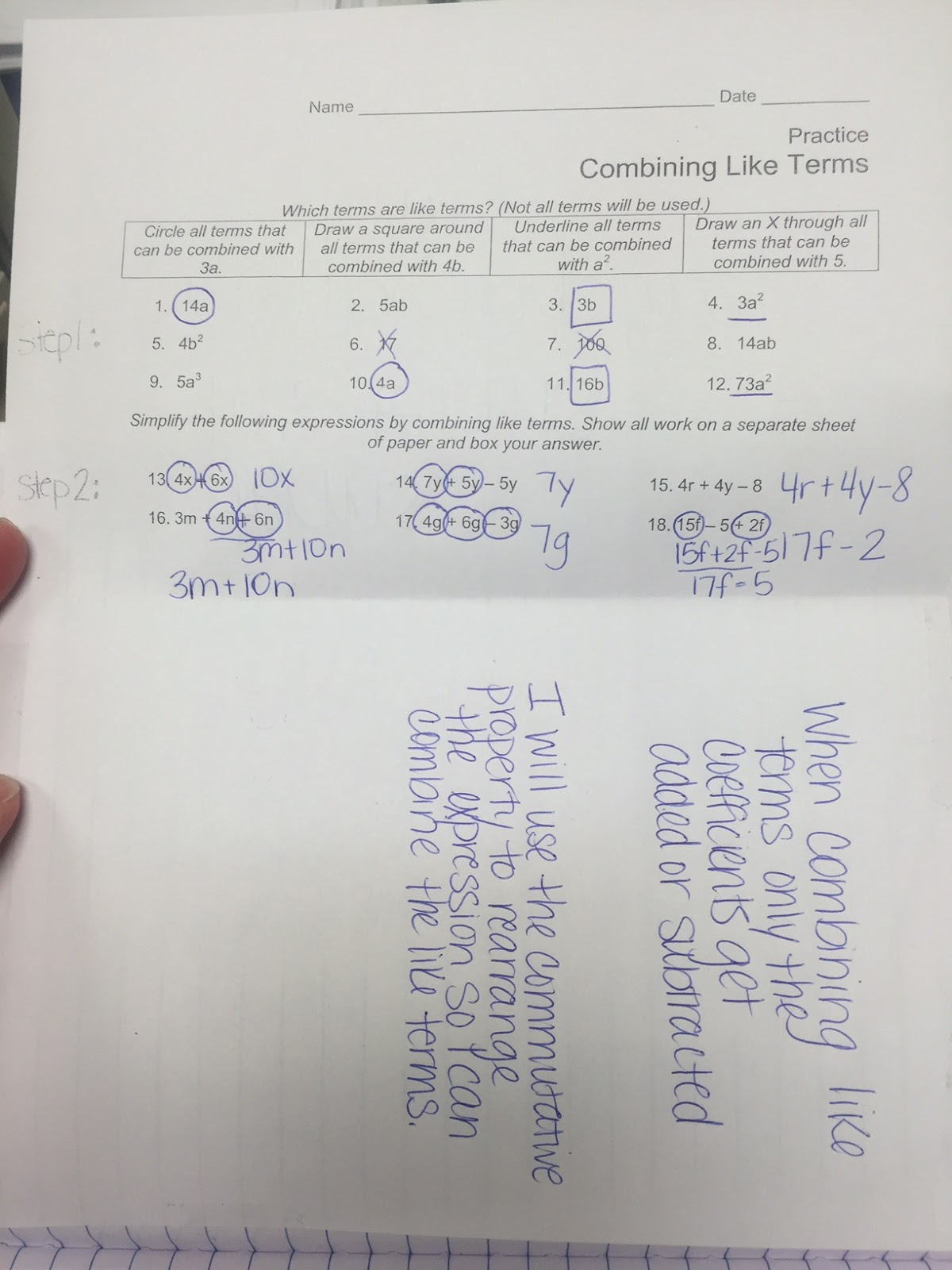 Combining Like Terms Worksheets 6th Grade