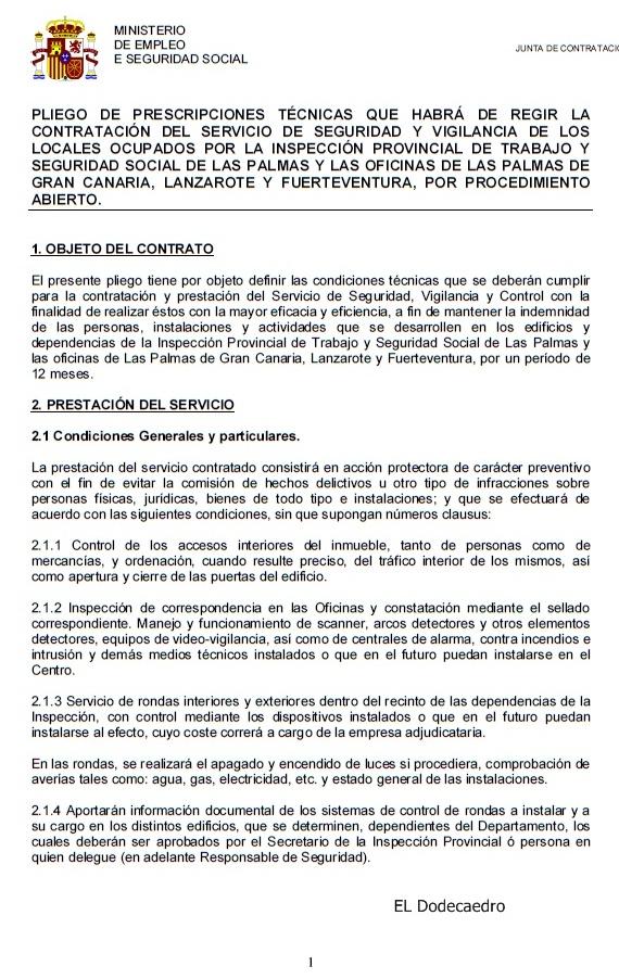 Licitacion del servicio de seguridad del i p de trabajo y seguridad social de las palmas de - Oficina de empleo las palmas ...