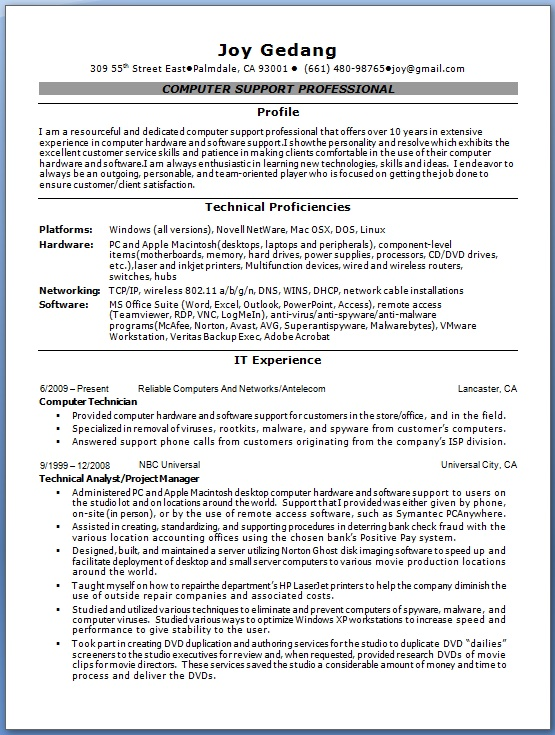 computer technician resume creative format in word free download