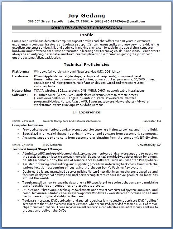 Computer Technician Resume Cover Letter