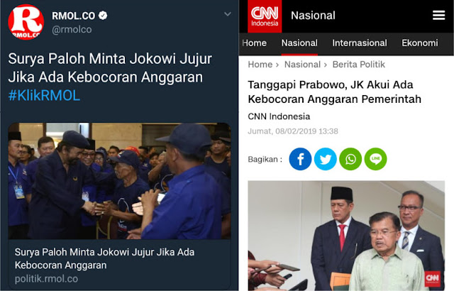 Surya Paloh Minta Jokowi Jujur, JK Akui Ada Anggaran Bocor, Politisi Demokrat: Kapal Oleng?