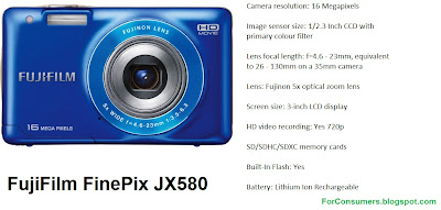 FujiFilm FinePix JX580 digital camera specifications