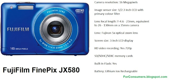 FujiFilm FinePix JX580 digital camera specifications