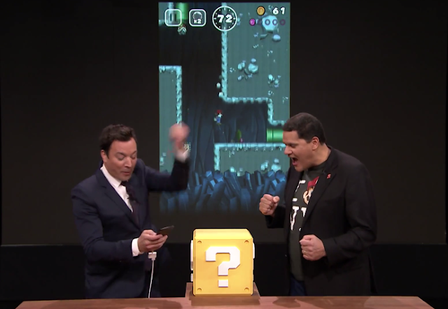 Jimmy Fallon plays Super Mario Run Reggie Fils-Aime Tonight Show Nintendo one-handed