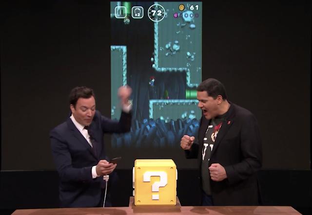 Jimmy Fallon plays Super Mario Run Reggie Fils-Aime Tonight Show Nintendo one-handed