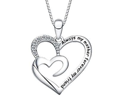 "FANCYCD ""Always My Mother Forever My Friend"" Double Heart Necklace"