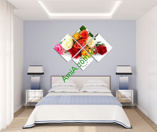Tranh đồng hồ hoa Hồng ghép bộ ấn tượng, lãng mạn-02