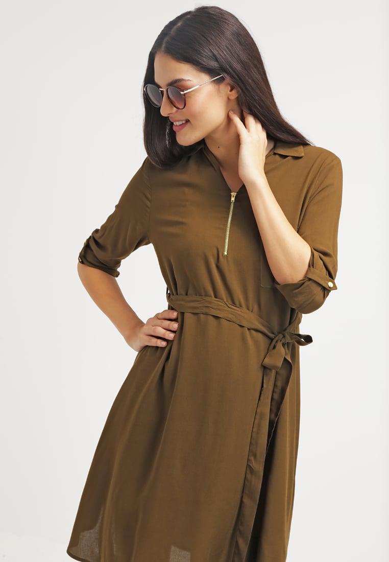 sukienka koszulowa, sukienka khaki, elegancka