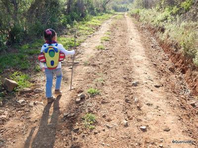 Niña de 5 años caminando en el sendero Las Trojes