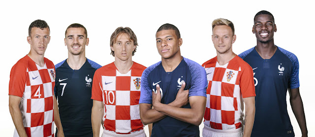 Perisic, Griezmann, Modric, Mbappe, Rakitic, Pogba pose for photo ahead of France vs Croatia Russia 2018 world cup final