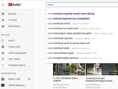 Riset Keyword Youtube Menggunakan Youtube Auto Sugestion