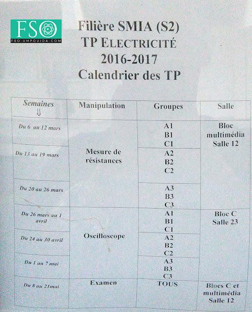 SMIA S2 : Calendrier des TP Électricité 1