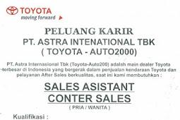 Lowongan Kerja Toyota Auto2000 Cabang Sukabumi