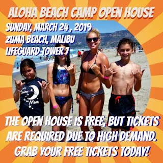 Three kids and their camp counselor on the beach inviting you to attend Aloha Beach Camp's Sunday, March 24 summer camp open house at Zuma Beach.