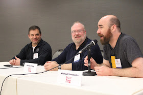 Ashton Lewis, Gordon Strong, and Me at the BYO Boot Camp panel.
