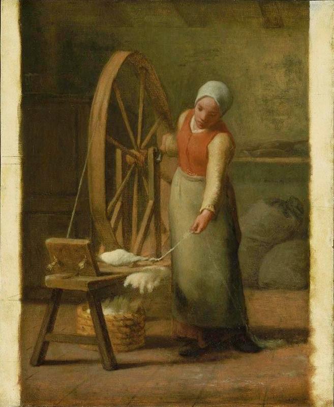 Fiandeira - Millet, Jean-Francois e suas principais pinturas | Realismo