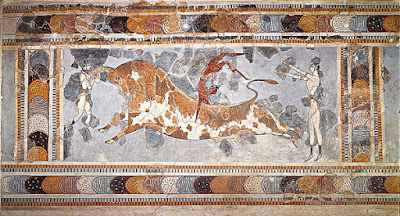 The bull-leaping fresco at the Great Palace at Knossos, Crete, c.1450-1400 BCE.