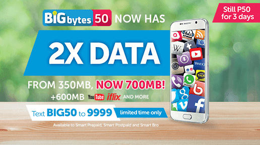 Smart's Limited Offer Bigbytes 50 Promo Now Valid for 3 Days Surfing