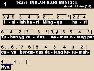 Lirik dan Not PKJ 11 Inilah Hari Minggu