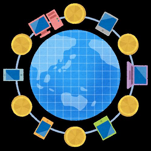 インターネットと仮想通貨のイラスト