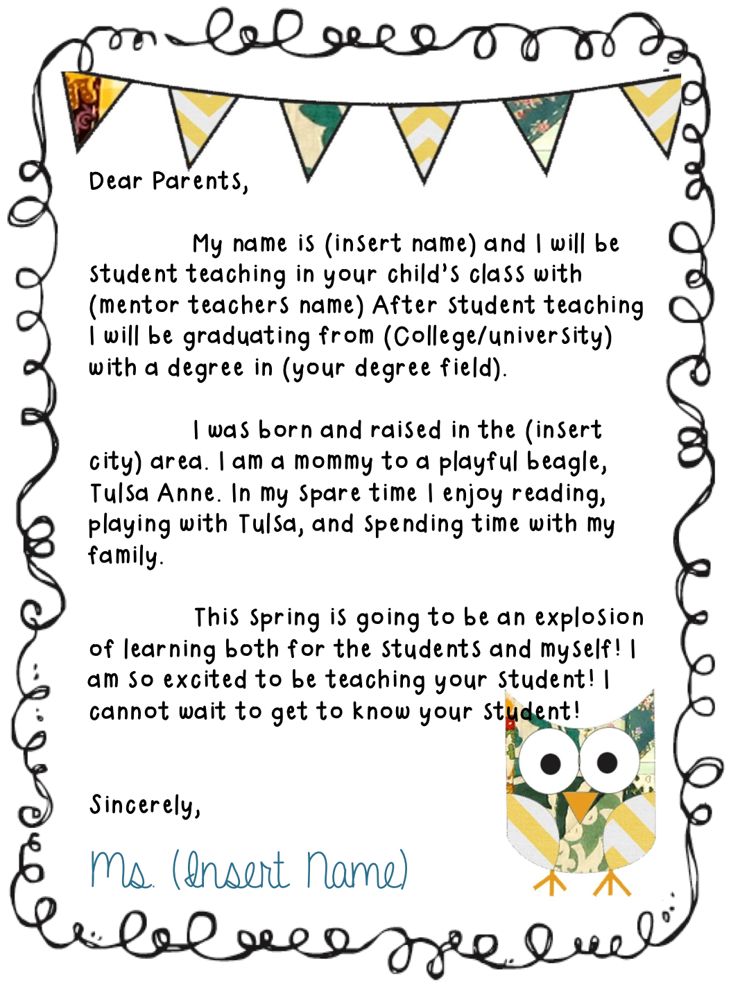 Keep On Teachin Letter To Parents