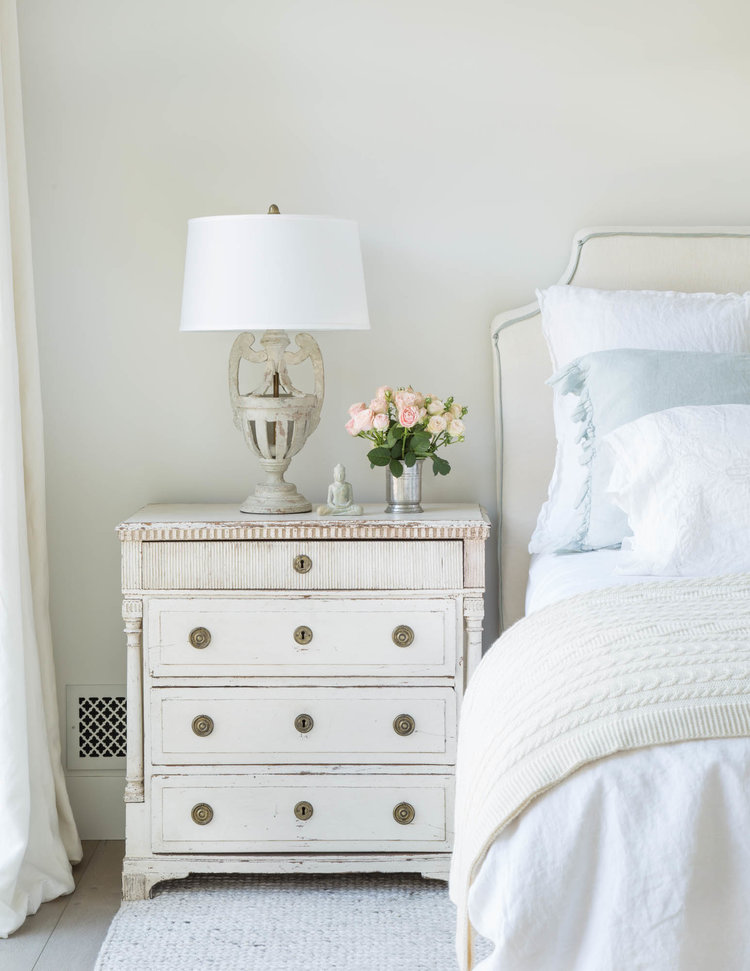 Beautiful modern farmhouse style bedroom with antique Swedish chest and inspiration on Hello Lovely Studio