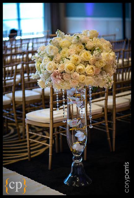 luxury floral design, Vendella roses, crystal strands, - Flora Nova Design, Seattle