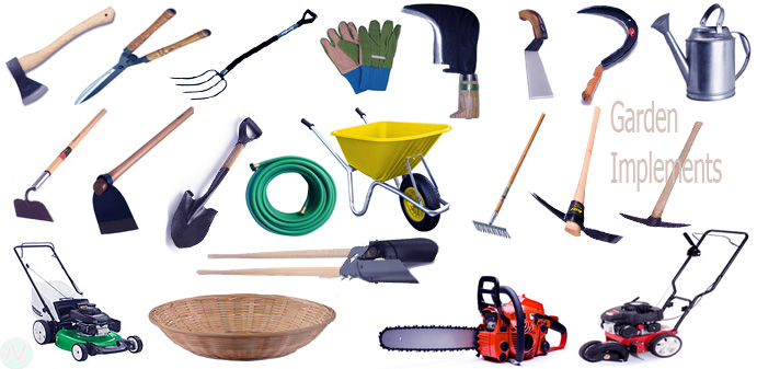 Garden implements tools name with necessary vocabulary for Gardening tools vocabulary
